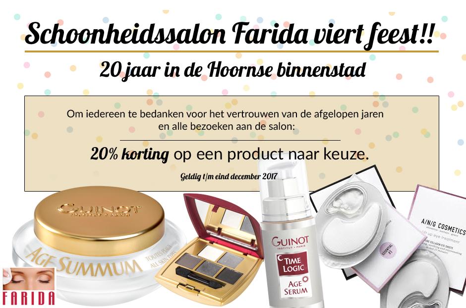 Schoonheidssalon Farida bestaat 20 jaar (in de Hoornse binnenstad)